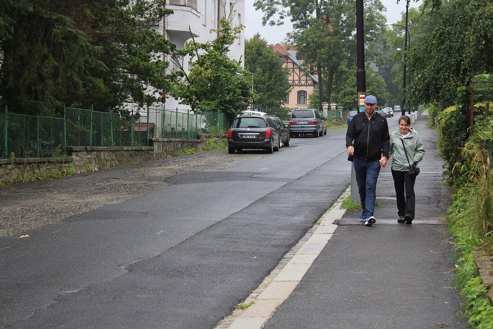 Tyršova ulice v Jeseníku v srpnu 2019.