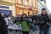 Šumperská demostrace proti ACTA, čtvrtek 2. února 2012