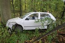V zámeckém parku skončil ve čtvrtek 15. října řidič fabie, který nedal na křižovatce u zámku ve Velkých Losinách přednost nákladnímu autu na hlavní silnici.