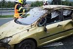 Havárie vozidla na dálnici u Mohelnice.