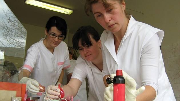 V Potravinářském učilišti v Jeseníku se učili cukrářky z Moravy a Slovenska od profesionálů, jak pracovat s karamelem.