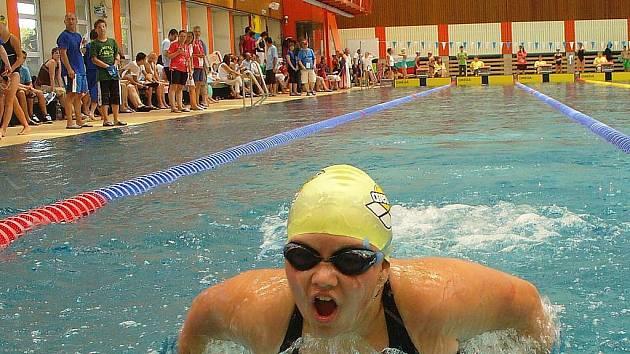 Veronika Špůrková během závodu na 200 metrů prsa