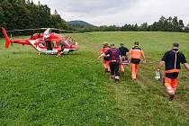 Zásah horské služby u zraněného chlapce na Městských skalách u Šumperku