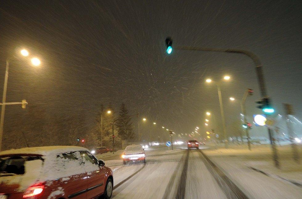 Sněžení na Šumpersku a Jesenicku - 23. listopadu 2015