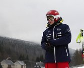 Ester Ledecká při tréninku na Dolní Moravě.