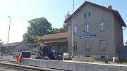 Železniční stanice v Javorníku během rekonstrukce.