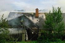 Požár domu v Domašově