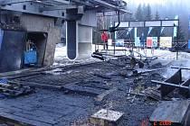 Ničivý požár strojovny v lyžařském areálu Přemyslov v Jeseníkách.