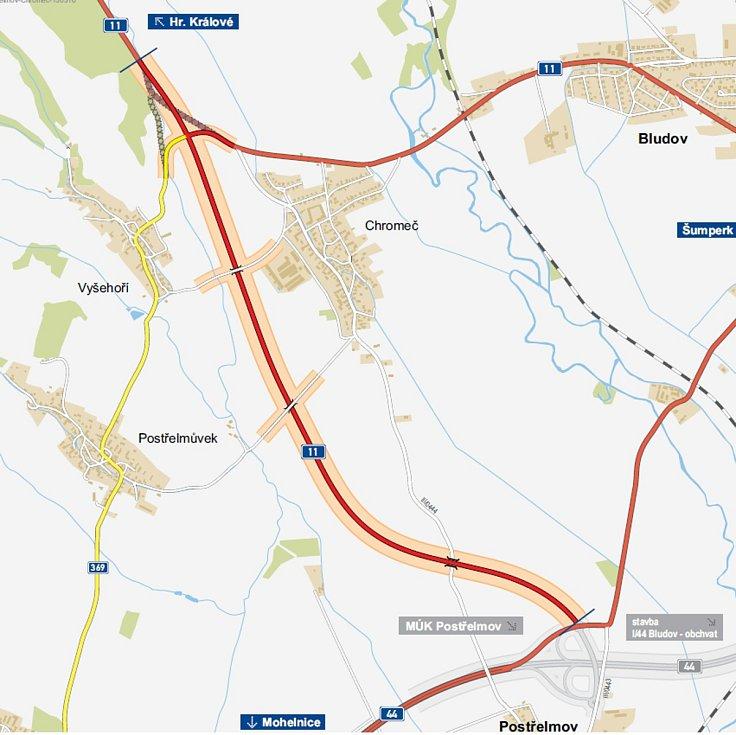 Mapa trasy budoucího obchvatu Chromče