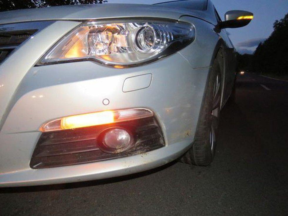 Sedmatřicetileté řidičce Volkswagenu Passat, která jela 13. září ráno od Ondřejovic na Mikulovice, vběhl na rovném úseku náhle před auto divočák. Žena už nestihla zabrzdit a zvíře srazila. Foto: Policie ČR