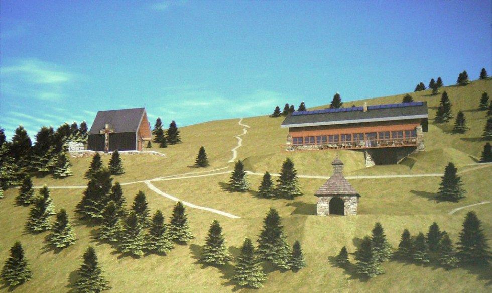 Vizualizace navrhované podoby poutního místa na Vřesové studánce.