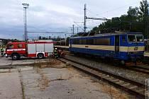 Požár lokomotivy v Zábřehu 13. září.