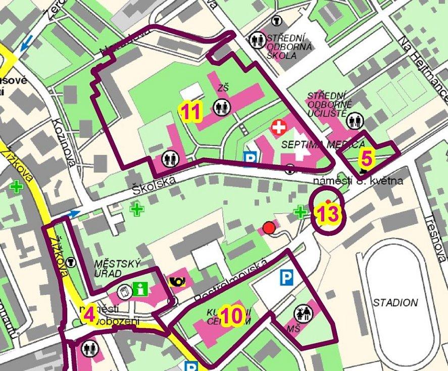 Náměstí Osvobození (4), náměstí 8. května (5), Čs. armády (10), Školská (11) a Postřelmovská (13)