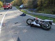 Nehoda motorkáře u Skřítku u Sobotína