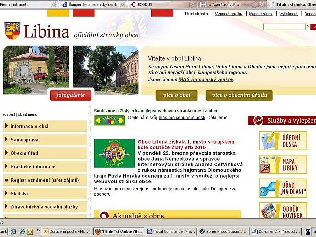 Takhle vypadá hlavní strana webu Libiny
