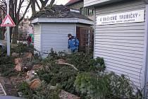 Silné poryvy větru nevydržely stromy v ulici 17. listopadu v Šumperku. Padající větve poškodily střechu stánku.