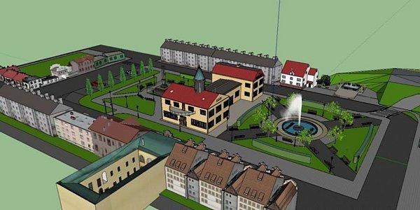 Vizualizace náměstí vJavorníku podle návrhu místních obyvatel Michala Zajonce a Václava Rozkošného.