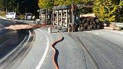 Nehoda kamionu se dřevem na Červenohorském sedle
