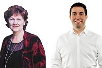 Končící starostka Jeseníku Marie Fomiczewová a Adam Kalous, který ji má na postu starosty nahradit.