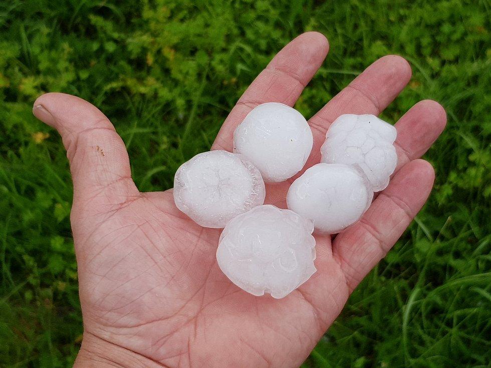 Takové kroupy padaly při průtrži mračen ve čtvrtek 13. června v Olšanech.