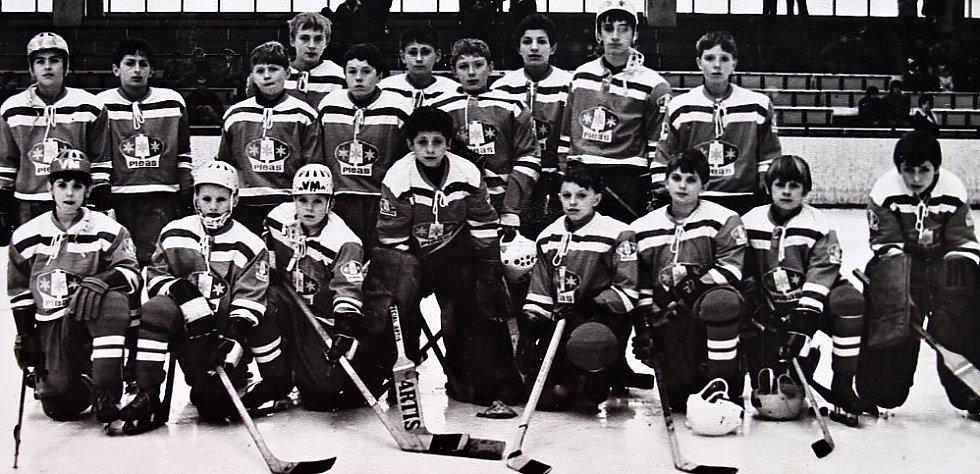O štít únorového vítězství. První ročník turnaje mladších žáků v ledním hokeji 3.-5. března 1972, tým Havlíčkův Brod
