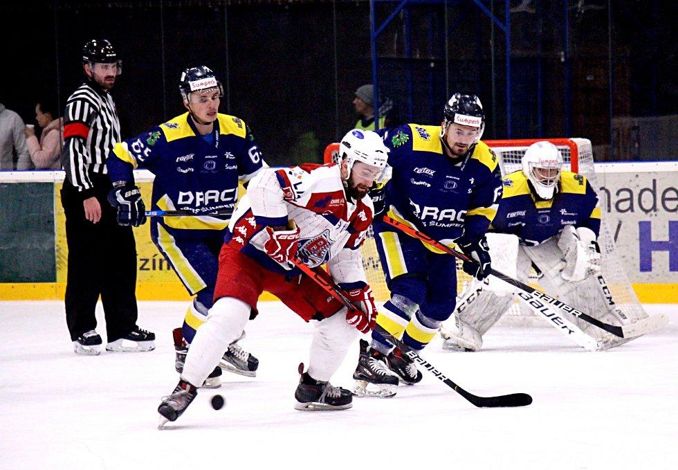 Hokejisté Draci Šumperk (modré dresy). Ilustrační foto