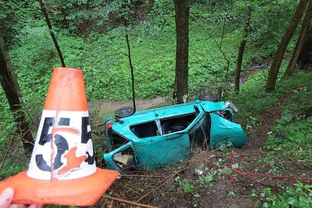 Pádem vozu ze srázu skončila nehoda, která se stala v úterý 11. července v 11 hodin mezi obcemi Kopřivná a Hanušovice.