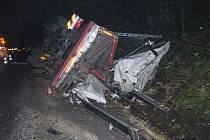 Havárie kamionu mezi Studenou Loučkou a Mohelnicí v pátek 23. října.