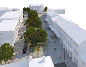 Vizualizace - Budoucí podoba Náměstí Osvobození v Zábřehu podle dopracovaného vítězného architektonického návrhu
