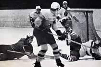 Šumperk v souboji proti Bílovci. Zápas se konal 27. ledna 1972 v Šumperku a dopadl 6:2.
