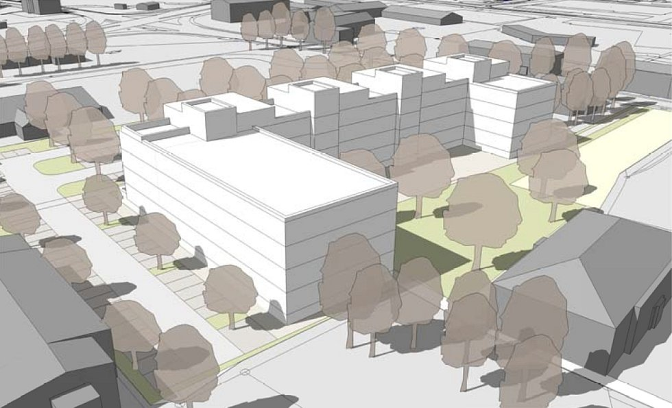 Nová podoba území bývalé Hedvy, jak ji pro město Šumperk navrhla architektonická kancelář Knesl Kynčl. Pohled od křižovatky ulic Lautnerova a M.R. Štefánika.