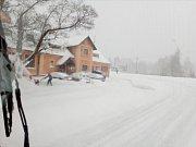 Sněžení na Jesenicku 20.4.2017