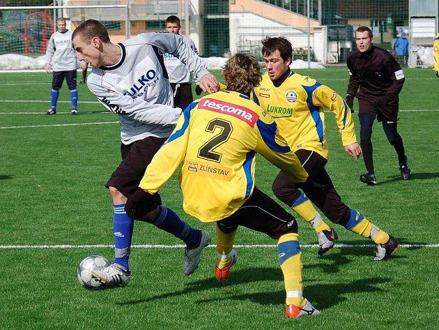 Zábřeh remizoval v přípravném utkání se zálohou Zlína (žluté dresy)