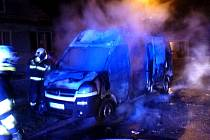 Požár dodávky v Leštině