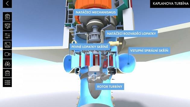 Model - soustrojí vodní elektrárny s turbínou