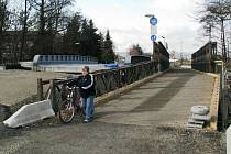 Provizorní most přes Moravu u Postřelmova