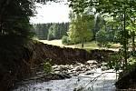 Bělá pod Pradědem - Horní Domašov. 19. července, den po bleskové povodni. Studený potok.
