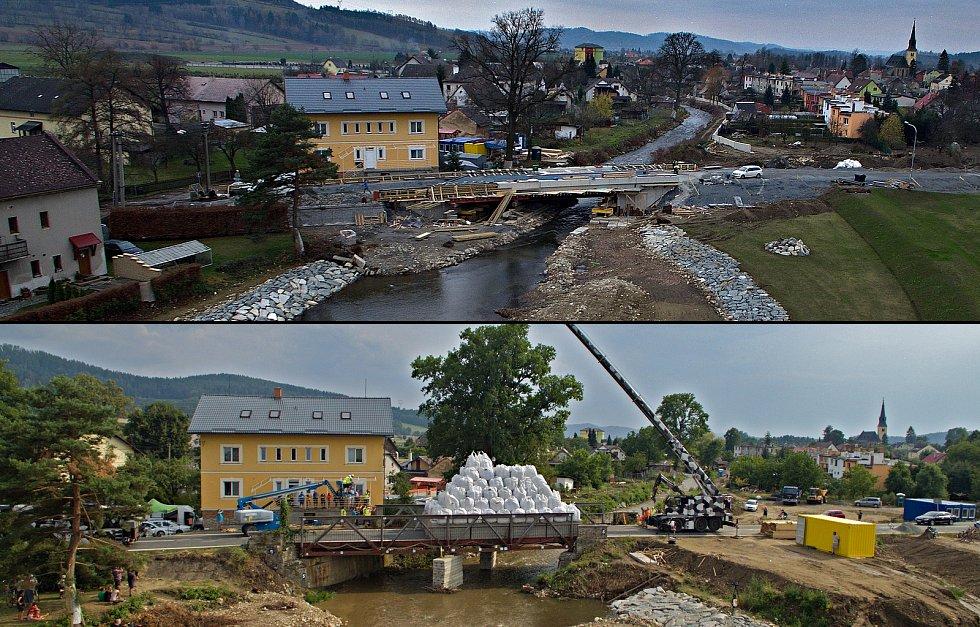 Nový most přes řeku Desnou mezi Petrovem a Rapotínem - srovnávací foto