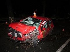 Novoroční nehoda na Priessnitzově ulici v Jeseníku