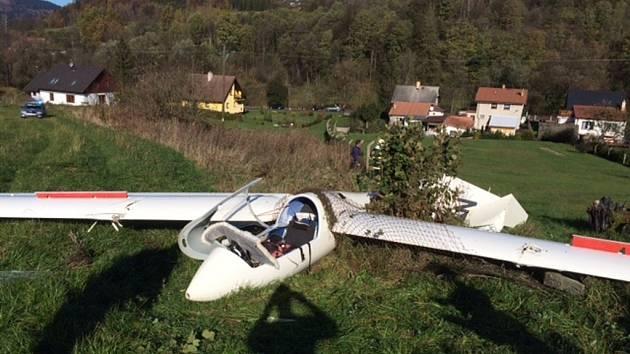 Havárie bezmotorového letadla v Jeseníku 2. listopadu 2014.