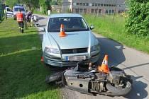 Nehoda motorkáře ve zlatých Horách