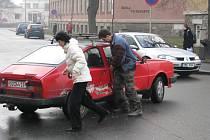 Nehoda na Masarykově náměstí v Šumperku.