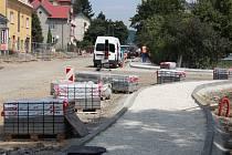 Stavba křižovatky na Zábřežské ulici v Šumperku. Stav k 11. červenci 2016.