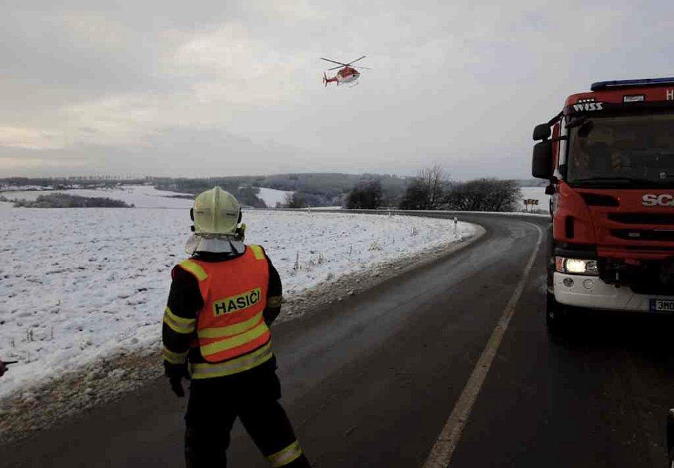 Nehoda u Měníku v okrese Olomouc. 7. ledna 2020