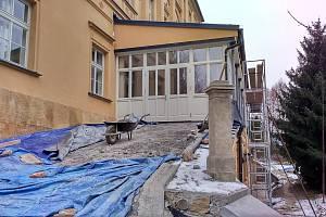 Zámek Třemešek, stav na konci ledna 2020.