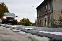 Rekonstruovaná silnice I/44 v Bludově, stav v pondělí 26. října