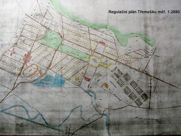 Plán Baťova města u Šumperka: hnědá linka napříč plánem je silnice z Králce na Třemešek