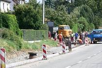 Výstavba chodníku v Bludově