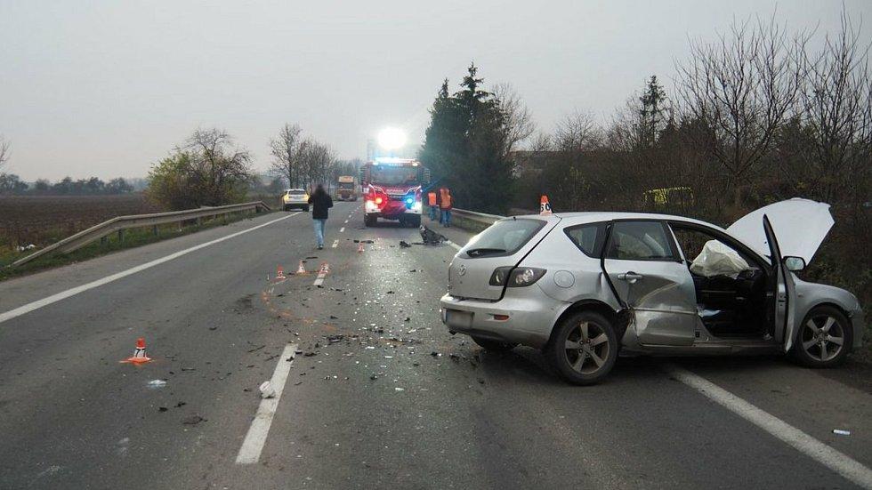 Hromadná bouračka mezi Zábřehem a Postřelmovem - 23. 11. 2020
