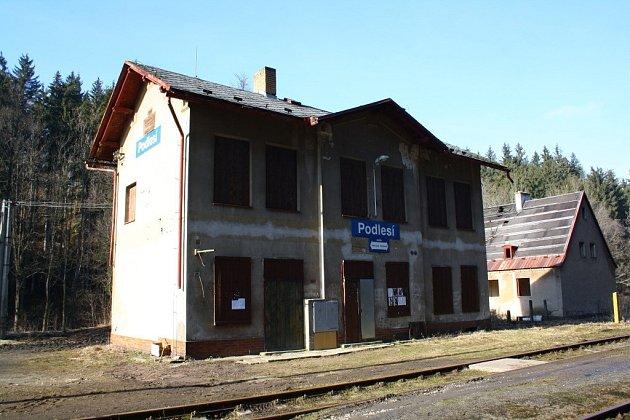 Nádraží Podlesí na Hanušovicku v únoru 2014.